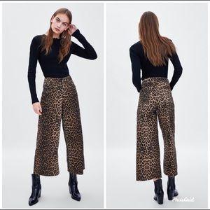 (NWT)Zara Animal Print Mid-Rise Jeans